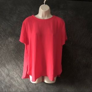 LOFT coral red s/s top with tulip hem NWT